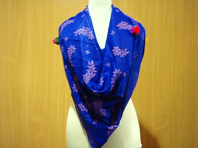 Purple/Pink - Printed Poly Cotton Blend Scarf