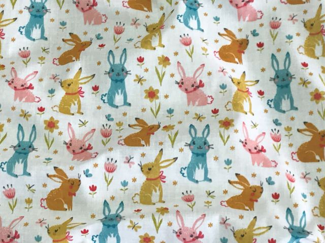 Rabbits And Flowers - Poly/Cotton Print