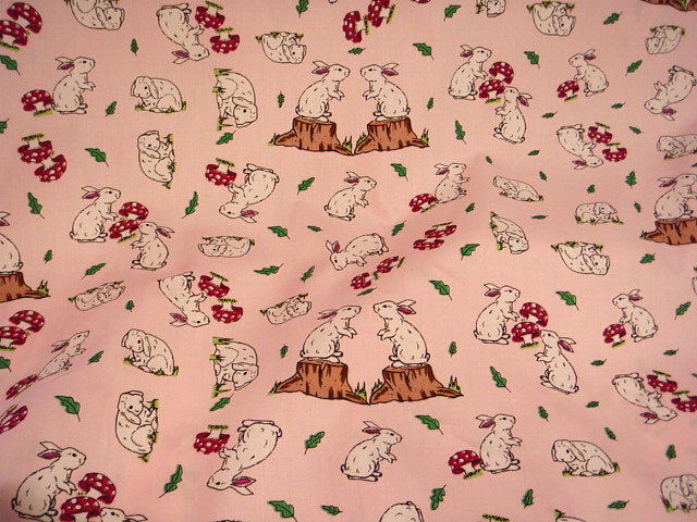 Rabbit / Toadstool - Cotton Poplin Patchwork