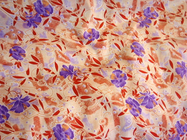 Red Purple Floral - Poly/Cotton Print
