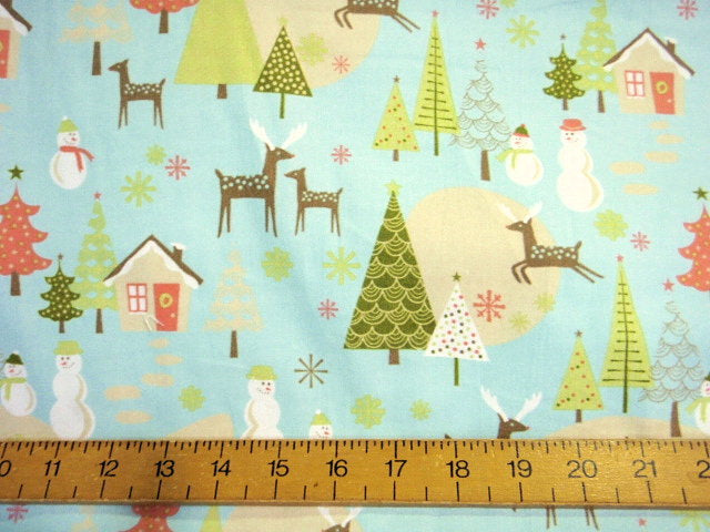 Reindeer and Snowman - Brushed Cotton Fabric