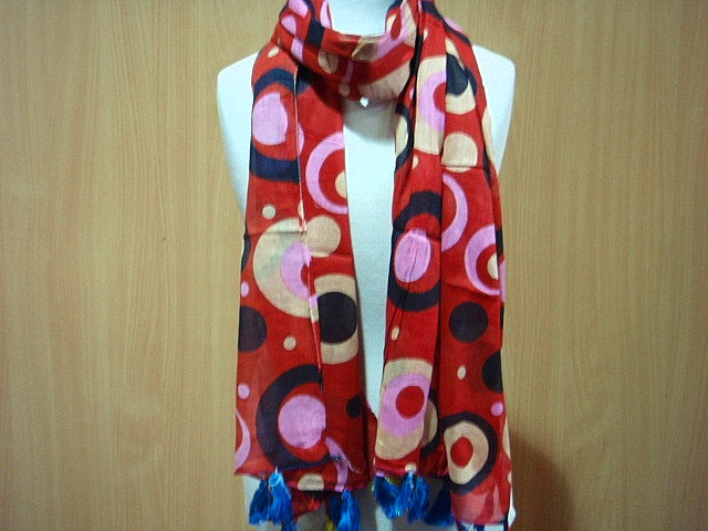 Retro - Printed Poly Cotton Blend Scarf
