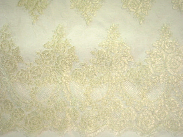 Ivory - Corded Lace With A Scalloped Edge