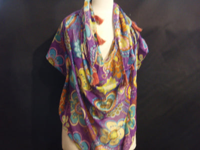 Purple Flower - Printed Poly Cotton Blend Scarf