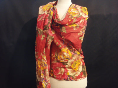 Red Floral - Printed Poly Cotton Blend Scarf