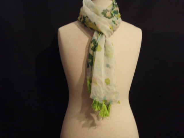 Green Floral Crinkle - Printed Chiffon Scarf