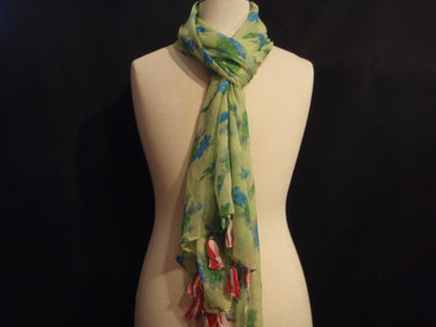 Green Floral Clusters - Printed Chiffon Scarf