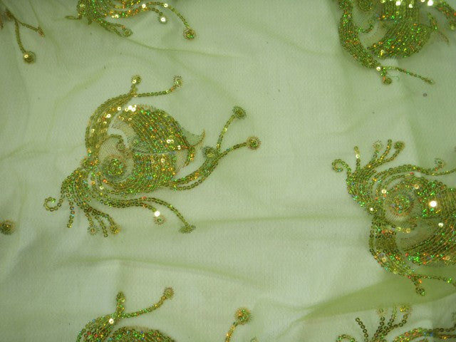 Lime Motif - Sequin Embroidered Tulle