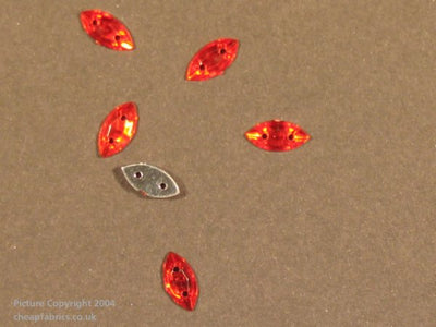 Acrylic Stones Sew On Jewels: Elliptical Oval - (50pck)