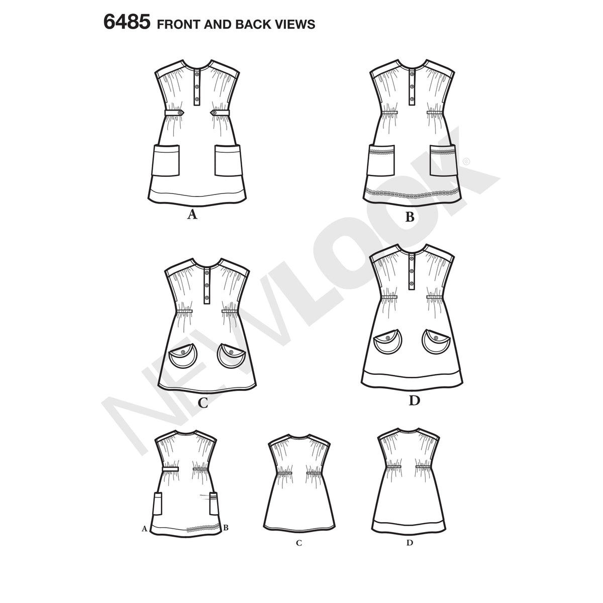6485 New Look Pattern 6485 Toddlers' Dress or Tunic with Fabric Variations