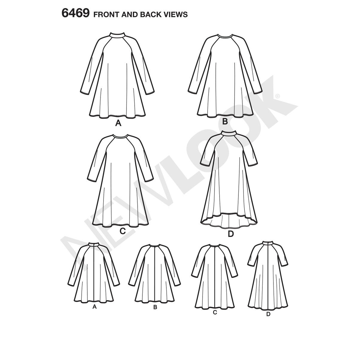 6469 New Look Pattern 6469 Misses' Easy Knit Dress with Length and Sleeve Variations