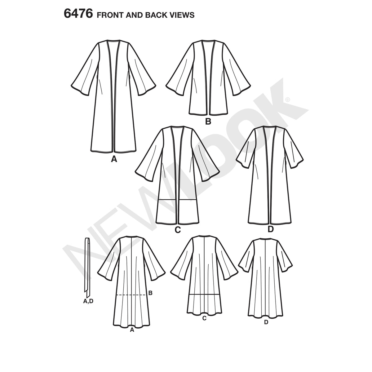 6476 New Look Pattern 6476 Misses' Easy Kimono with Length and Sleeve Variation