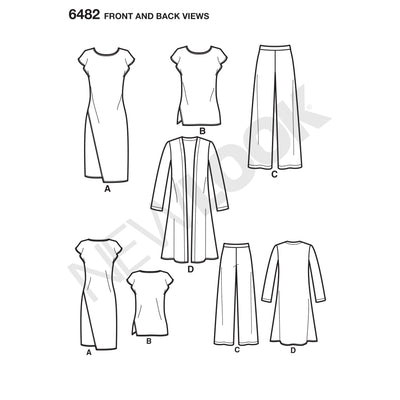 6482 New Look Pattern 6482 Misses' Knit Dress, Tunic, Pants and Duster