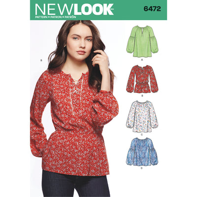 6472 New Look Pattern 6472 Misses' Boho Blouses