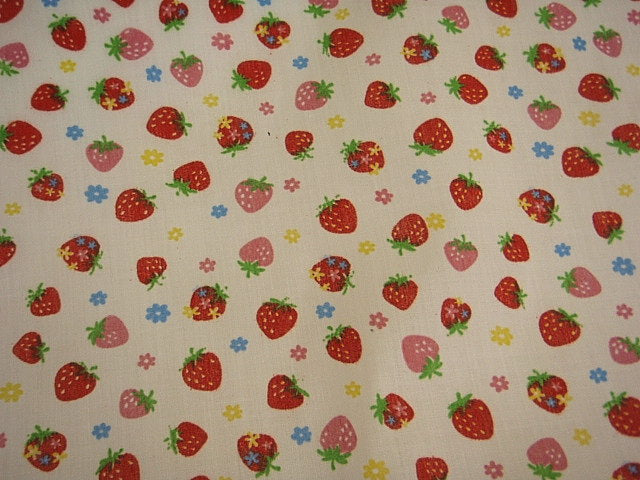 Small Strawberries - Poly/Cotton Print