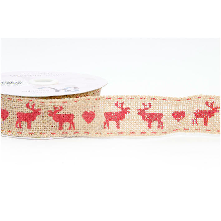 Wired Hessian Christmas Reindeer Ribbon