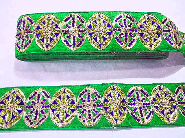 Green Oval Sequinned Trim