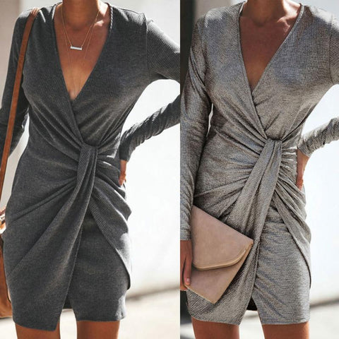 Deep V Neck  Belt  Plain  Long Sleeve Bodycon Dresses