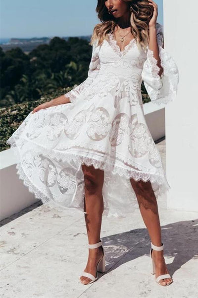 Sexy V-Collar Lace Splice Trumpet Sleeve Tuxedo Lace Dress