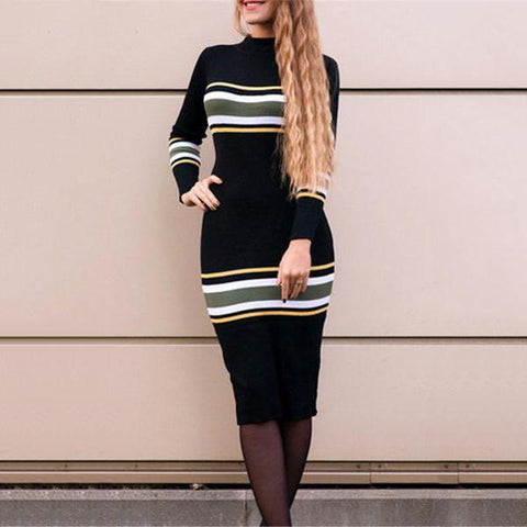 Round Collar Striped Knitted Long-Sleeved Bodycon Dress