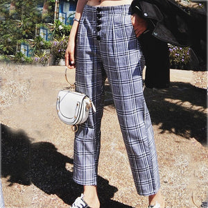 Fashion Casual Loose Plaid Button Straight-Leg Pants
