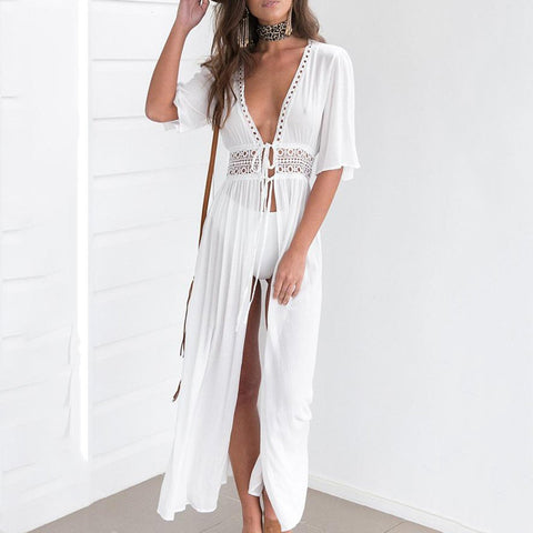 White Elegant Half Sleeves Pure Color Maxi Dress