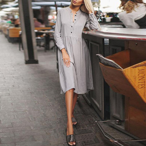 V Neck  Single Breasted  Plain  Long Sleeve Casual Dresses