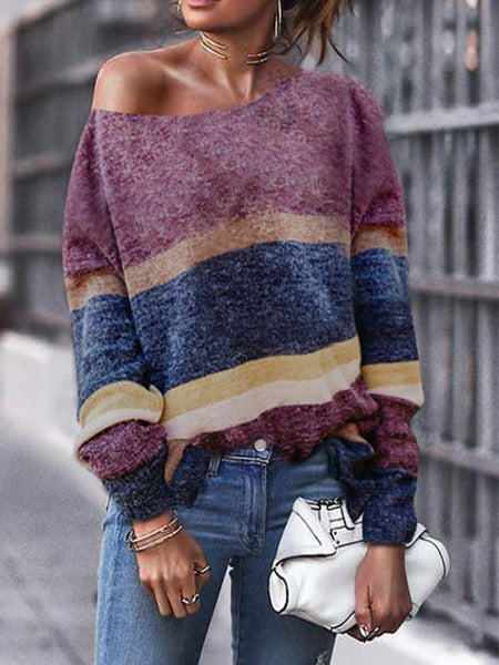 Fashion Off Shoulder Stripe Long Sleeve Sweaters