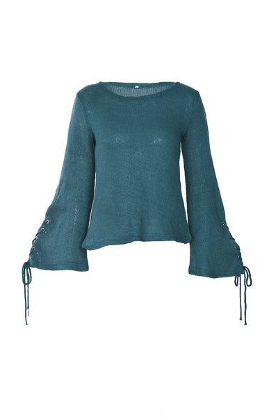 Lace-Up Round Neck Sweater Top