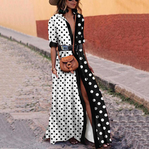 Printed Striped Polka Dot Fashion Maxi  Dress