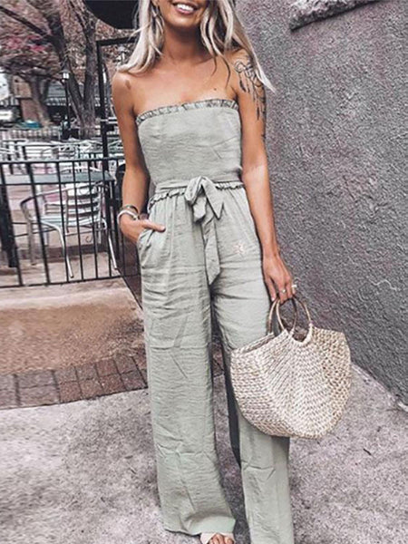 Military Green Casual Style Jumpsuit