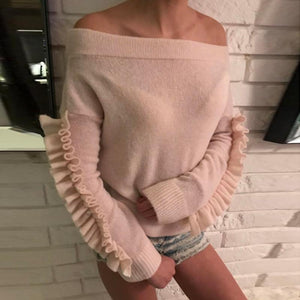 Sexy Off-Shoulder Stitching Ruffled Long Sleeve Casual Sweater