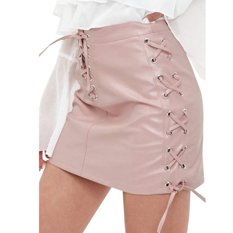Elegant Nifty Fashion Casual Slim Plain High Waist Lace-Up Front Skirt