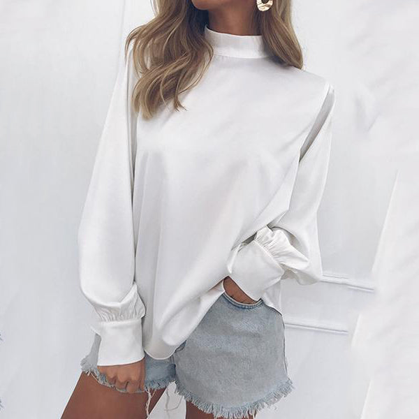 Loose high collar chiffon shirt