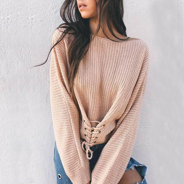 Long Sleeved Waist Belt Sexy Trim Sweater