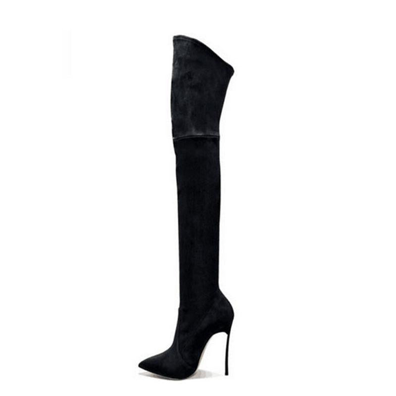e7a99611487 Thigh High High Heeled Stiletto Suede Sexy Point Toe Boots – Shesideshop