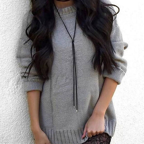 Round Neck  Cross Straps  Plain Sweaters