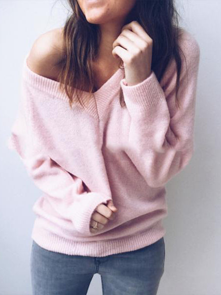 Rabbit Velvet V-Neck Halter Sweater