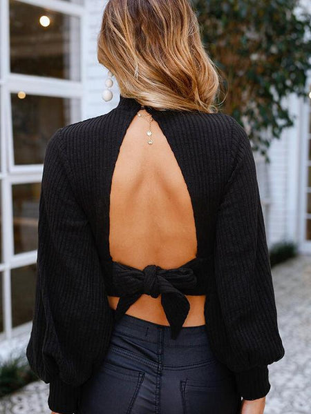 High Collar Pure Colour Bare Back Sweater