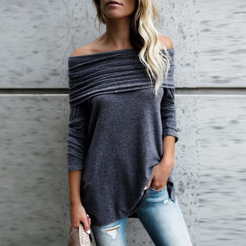 Off Shoulder  Asymmetric Hem  Plain T-Shirts  sweater