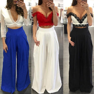 Color Fashion Casual Wide Leg Chiffon Pleated Pants