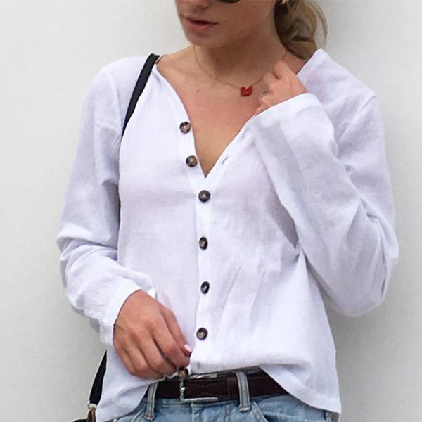 Hot  Long Sleeve Breathable Button Shirt Top