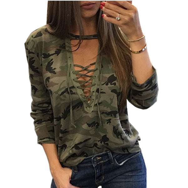 Deep V Neck  Lace Up  Camouflage T-Shirts