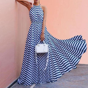 Fashionable Printed Stripe Maxi Dress