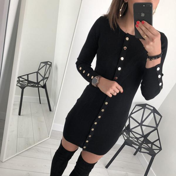 Sexy Trim Pure Color Nail Buckle Wrapped Hip Knitted Dress