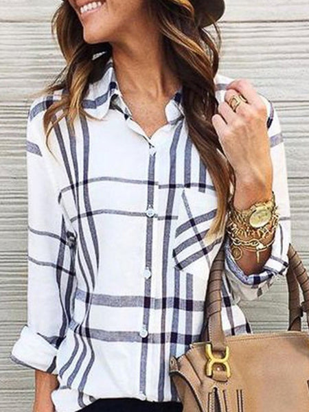 Long Sleeve Plaid Fashion Shirt Women
