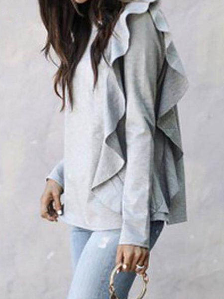 Ruffled Long Sleeve Sweater