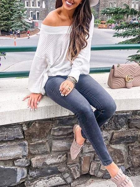Sexy V Neck Long Lantern Sleeve Knitting Sweater tops