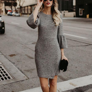 Crew Neck  Asymmetric Hem Cutout Patchwork Ruffle Trim  Bust Darts  Plain  Bell Sleeve Bodycon Dresses