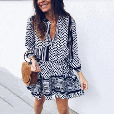 Plaid Printed Mini Dress